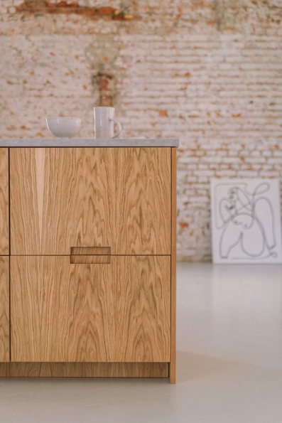 Natural oak veneers  of natural Norwegian Wood collection for IKEA kitchen Metod and Pax